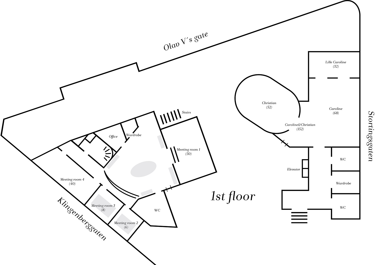 Floor plan of meetings and event fasilities at Continental