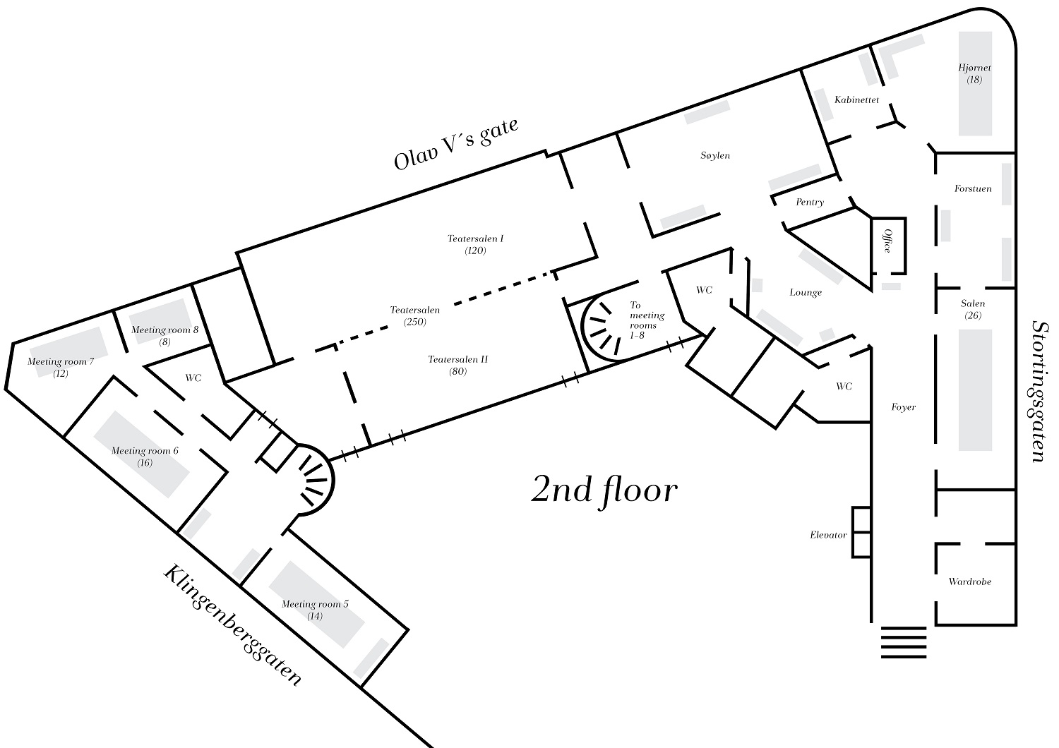 Floor plan over venues at Continental in Oslo